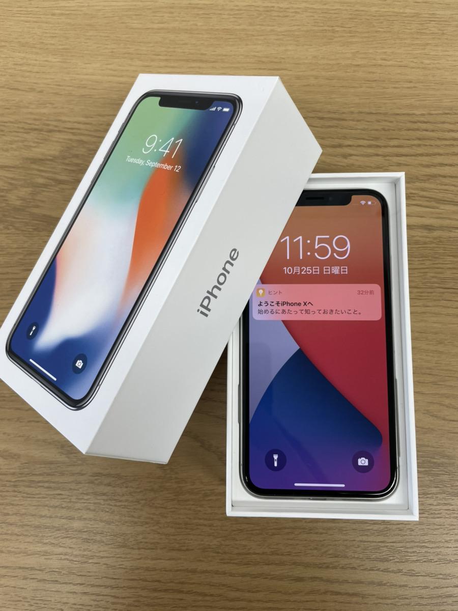 iPhoneX 64GB シルバー AppleSIMフリー 中古正常品