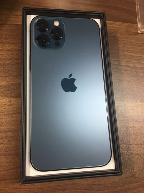 iPhone12ProMax ブルー 128GB SB △ 新品初期フィルム無し