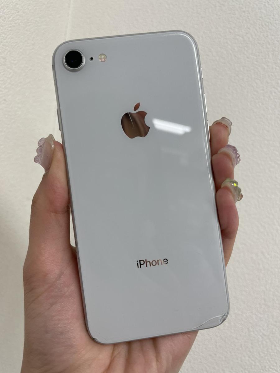 iPhone8 64GB シルバー au△ ジャンク品(画面•背面割れ)