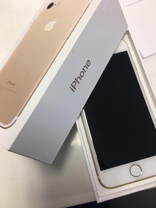 iPhone7 128GB ゴールド 中古正常品 ○ SB 箱あり